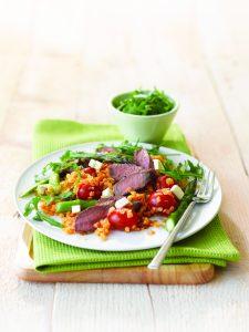 Lamb with warm lentil salad