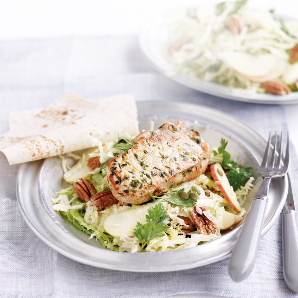 Lemon and thyme pork with cabbage salad