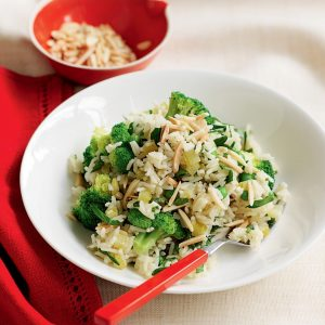 Lemon, pea and broccoli pilaf