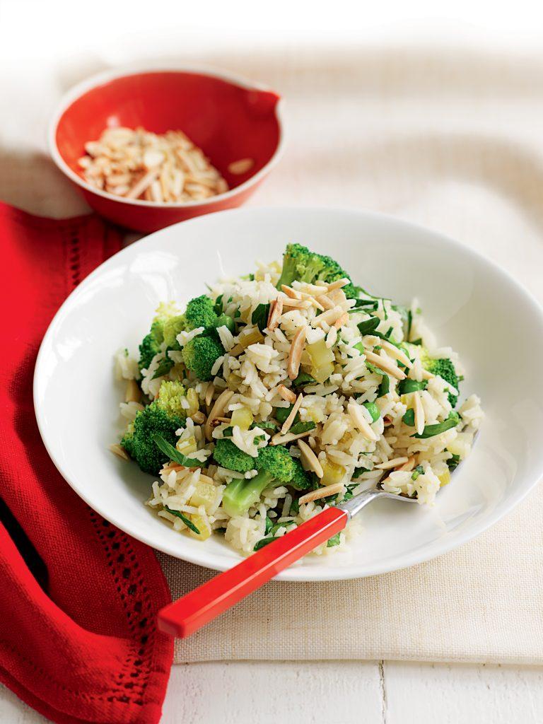 Lemon, pea and broccoli pilaf