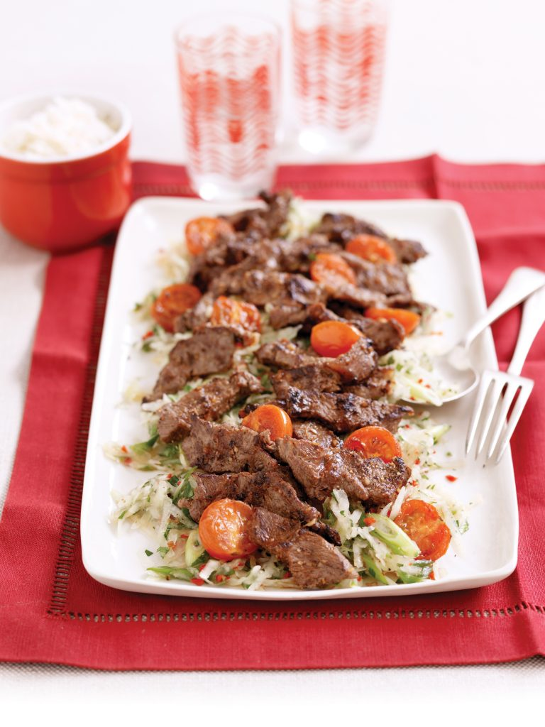 Lemongrass seared beef and green pawpaw salad