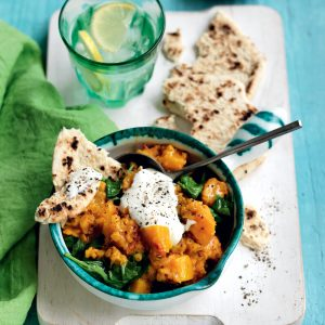 Lentil, pumpkin and spinach dhal