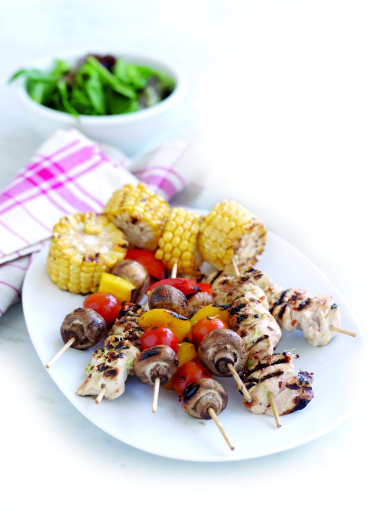 Lime-chilli chicken skewers with veges