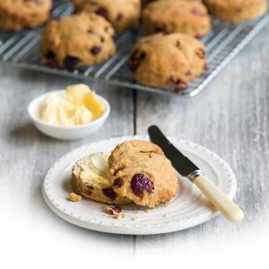 Low-FODMAP cranberry, cinnamon and orange scones
