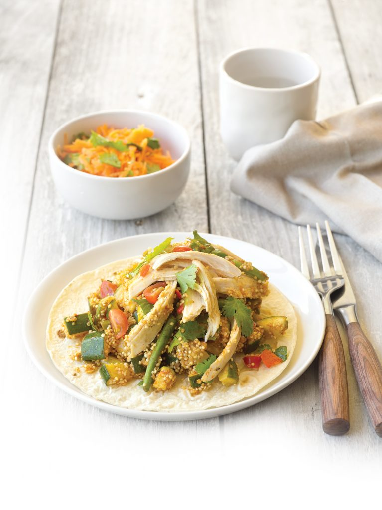 Low-FODMAP zingy chicken chilli with carrot, coriander and lime salad