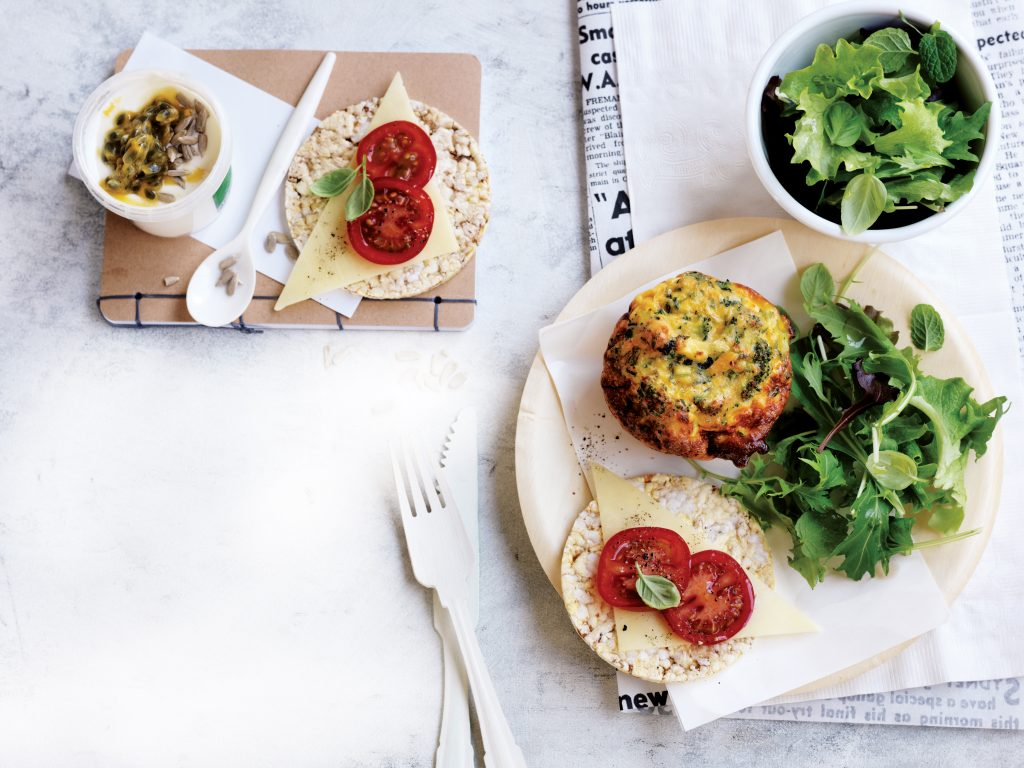 Lunchbox: Broccoli, salmon and herb frittatas + snacks