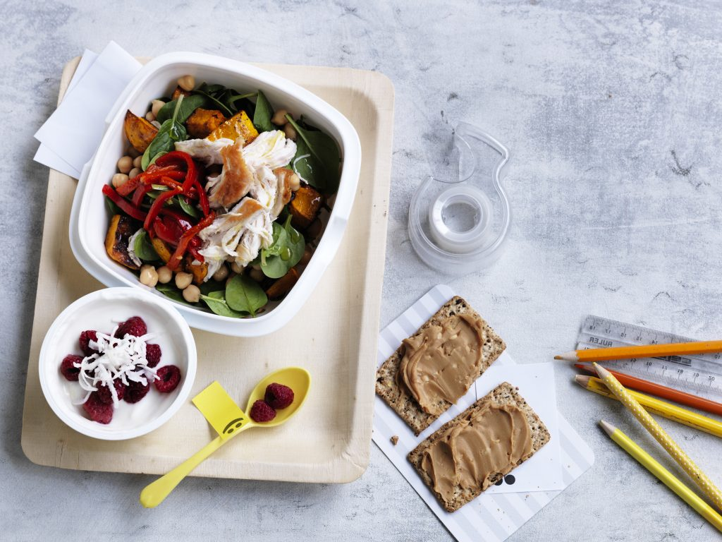Lunchbox: Chicken, chickpea and roasted pumpkin salad + snacks