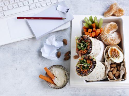 Lunchbox: Smashed black bean, avocado and rocket wrap + snacks