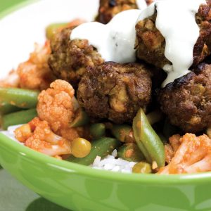 Madras meatballs with spiced vegetables