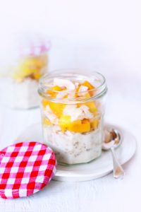Mango, coconut and chia overnight oats