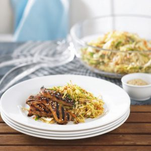 Marinated chicken with Asian coleslaw