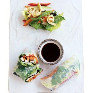 Marinated tofu and sesame seed rolls