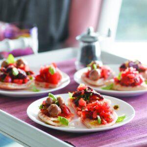 Mediterranean pita bruschetta