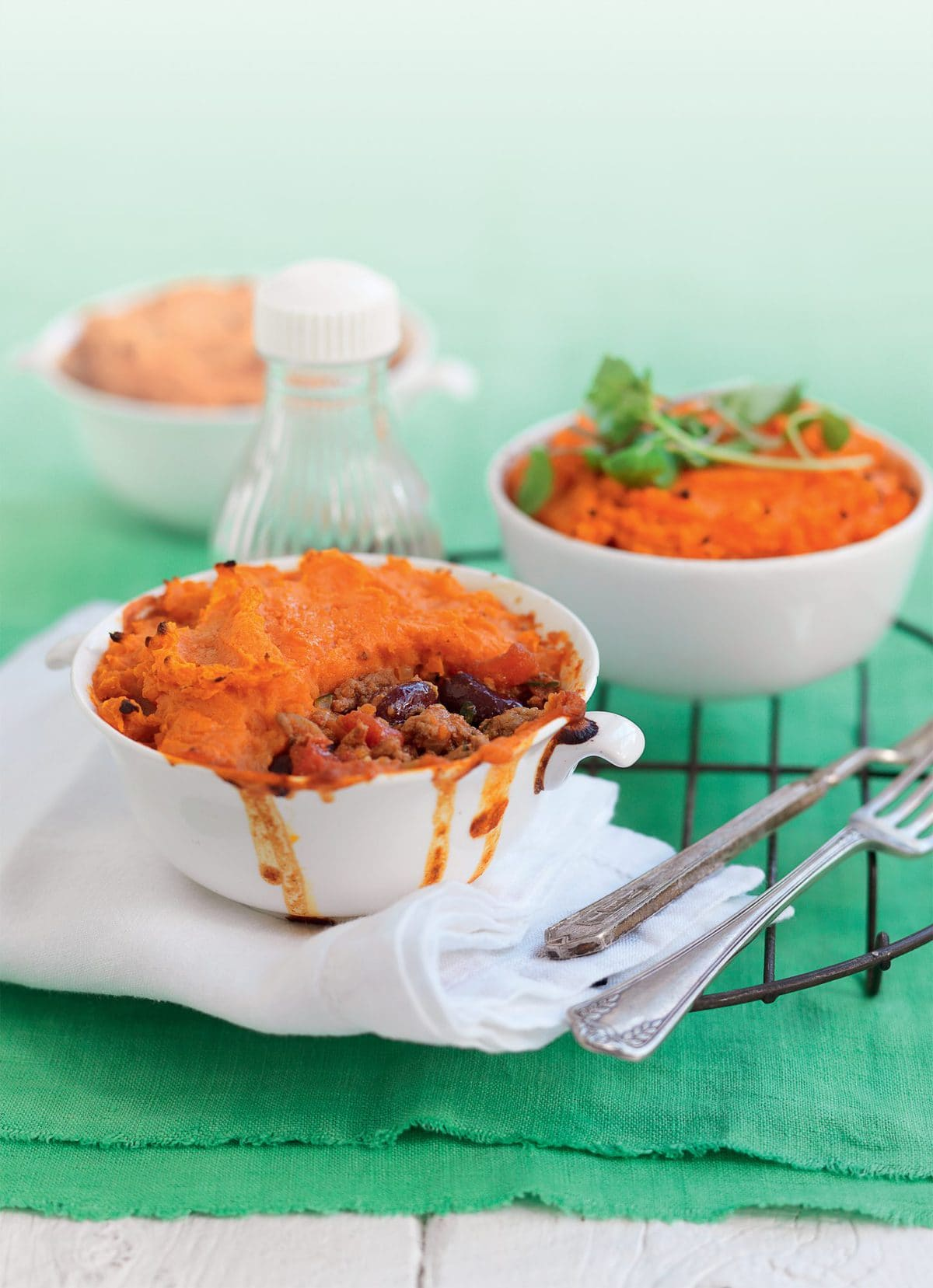 Mexican bean and beef pies with kumara topping