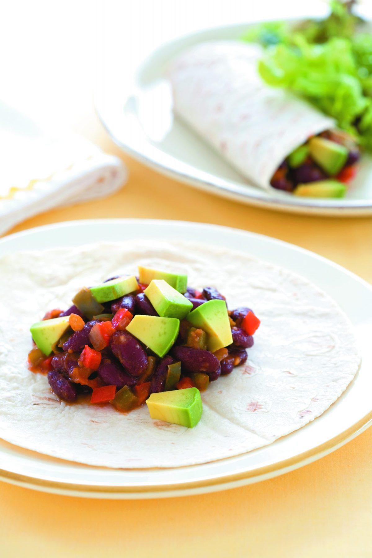 Mexican bean and avocado wrap
