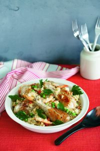 Mexican rice with chicken and prawns