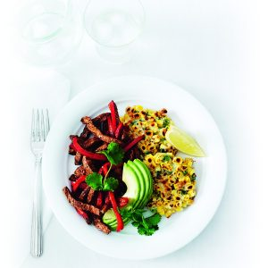 Mexican spicy beef with corn fritters