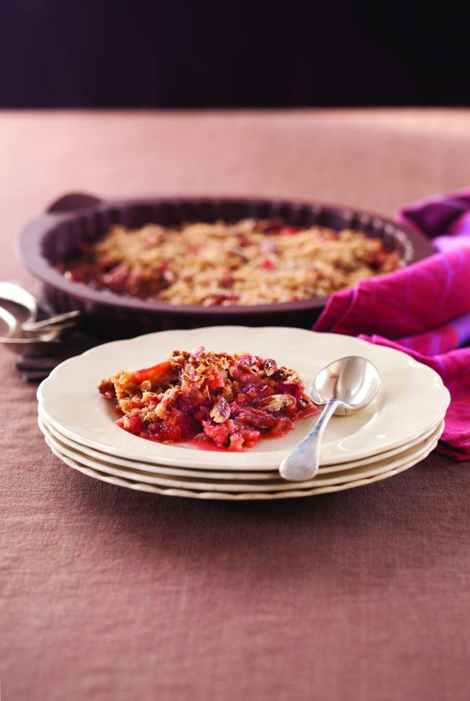 Microwave rhubarb and orange crumble