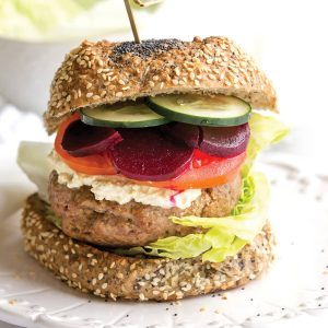 Middle Eastern lamb burgers with cumin yoghurt