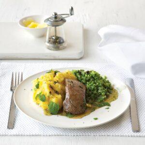 Mint-glazed lamb with soft polenta and green vege mash