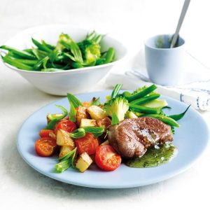 Minted lamb with roasted garlic potatoes