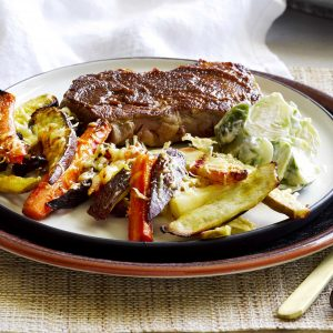 Miso beef with parmesan vege chips, Brussels slaw and creamy mustard