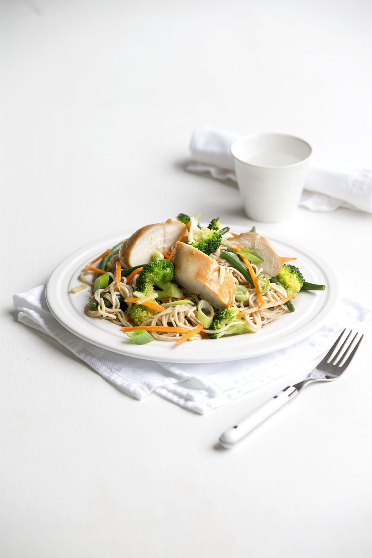 Miso chicken and soba noodle salad