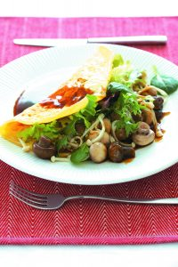 Mixed mushroom omelette with soy glaze