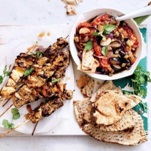 Moroccan chicken skewers with warm eggplant salad