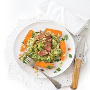 Moroccan lamb medallions with mint pea mash