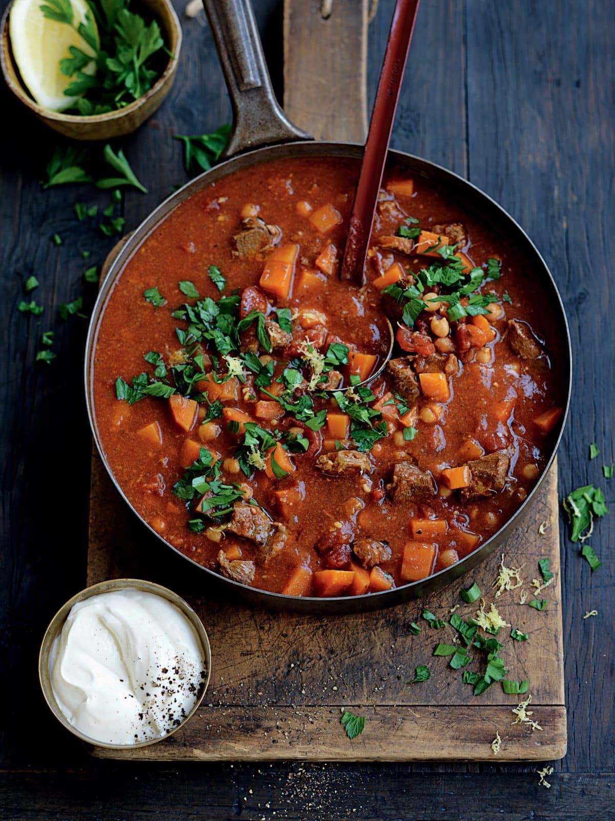 Moroccan lamb, tomato and kumara soup