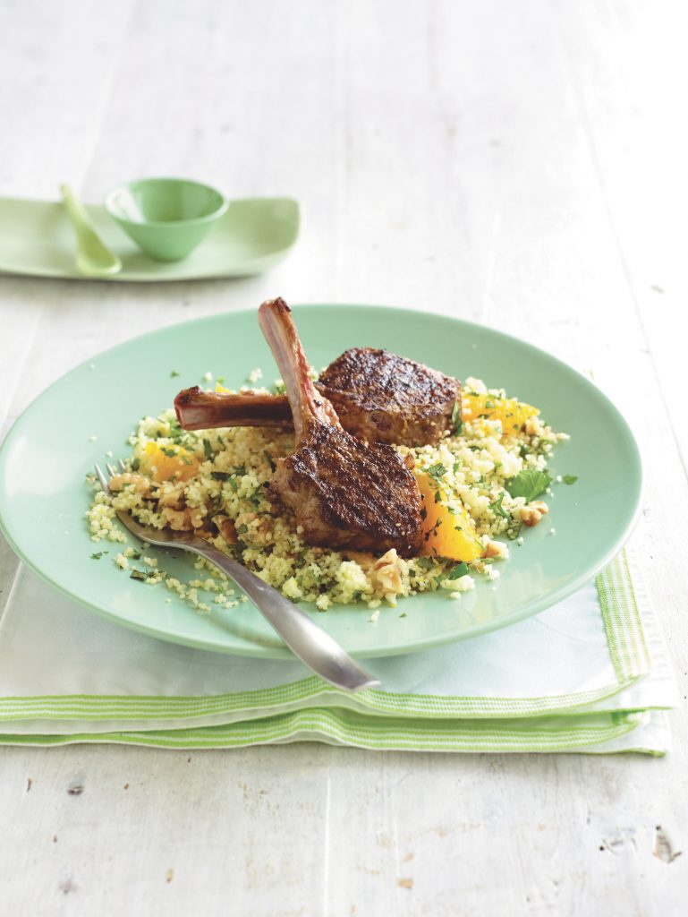 Moroccan lamb with orange-walnut couscous