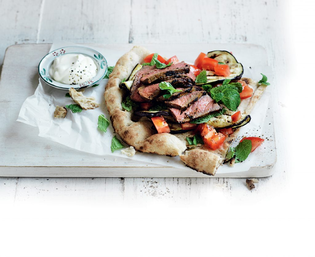 Moroccan-spiced steak with eggplant and tomato salad