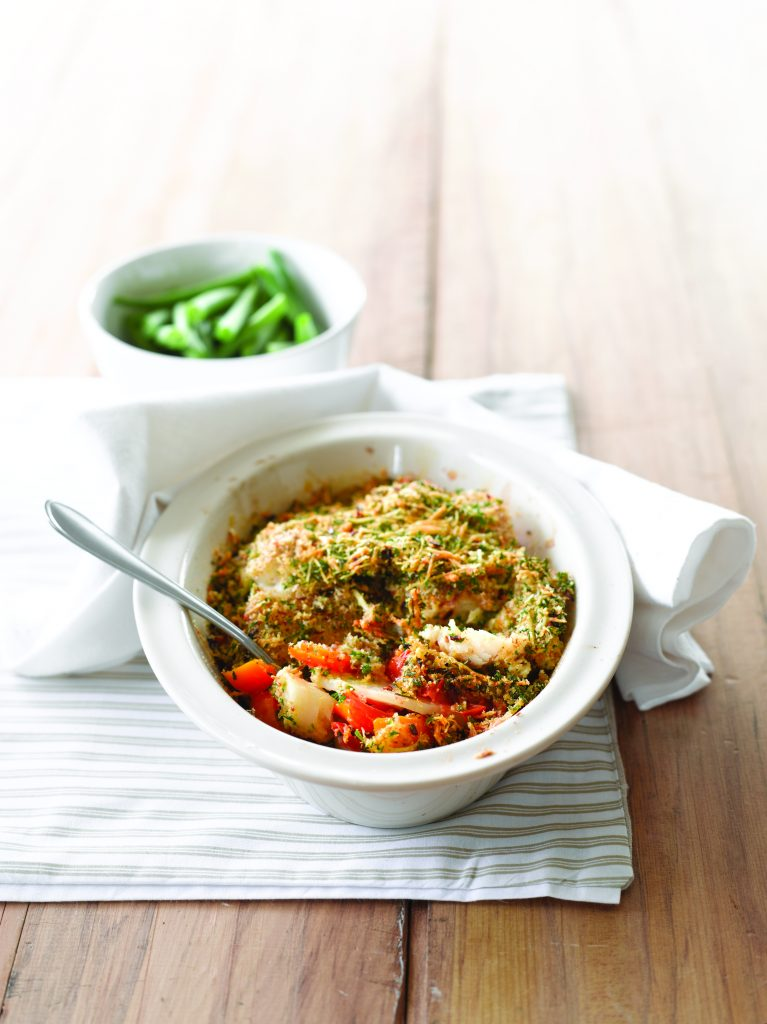 One-dish fish bake with potatoes and peppers