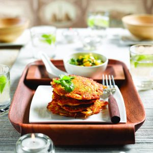 Onion fritters with mango relish