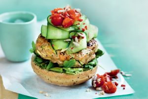 Open chicken burger with spicy tomato salsa