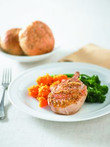 Orange and ginger pork with kumara mash
