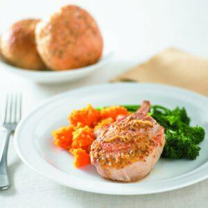 Orange and ginger pork with kumara mash