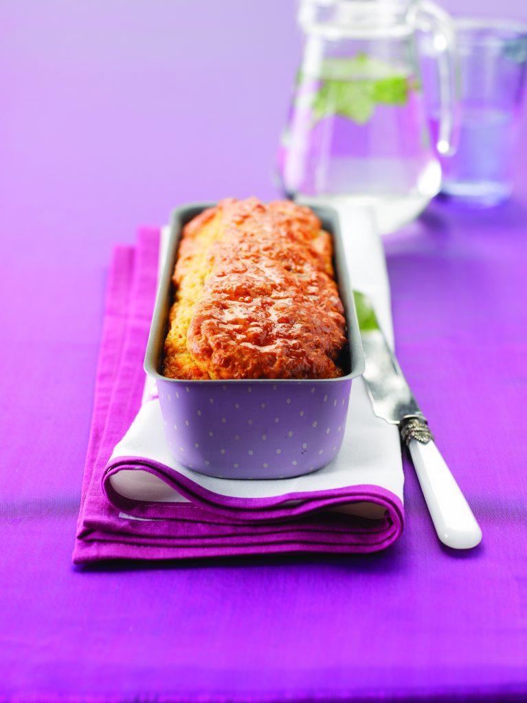 Orange cake with vanilla drizzle