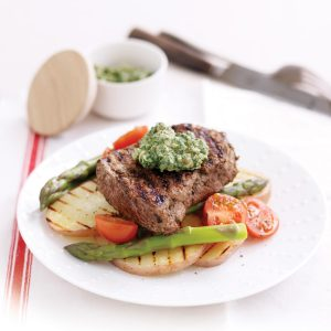 Oregano-rubbed steaks with salsa verde