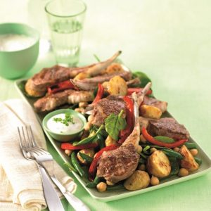 Oregano lamb cutlets with warm potato salad