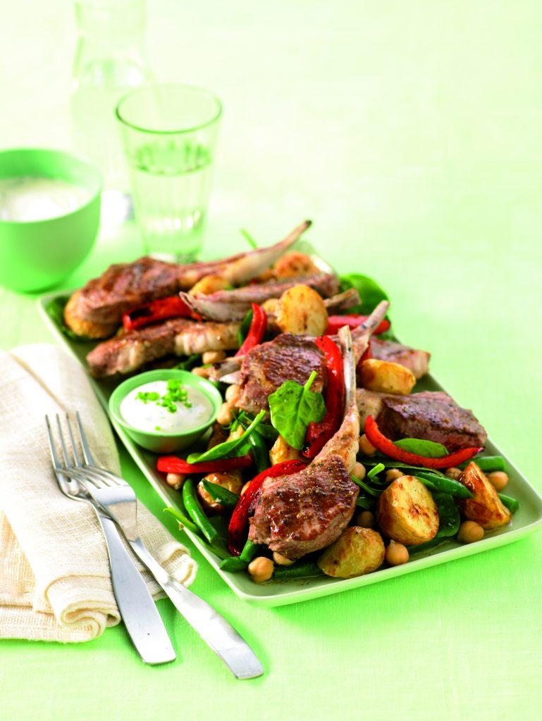Oregano lamb cutlets with warm potato salad