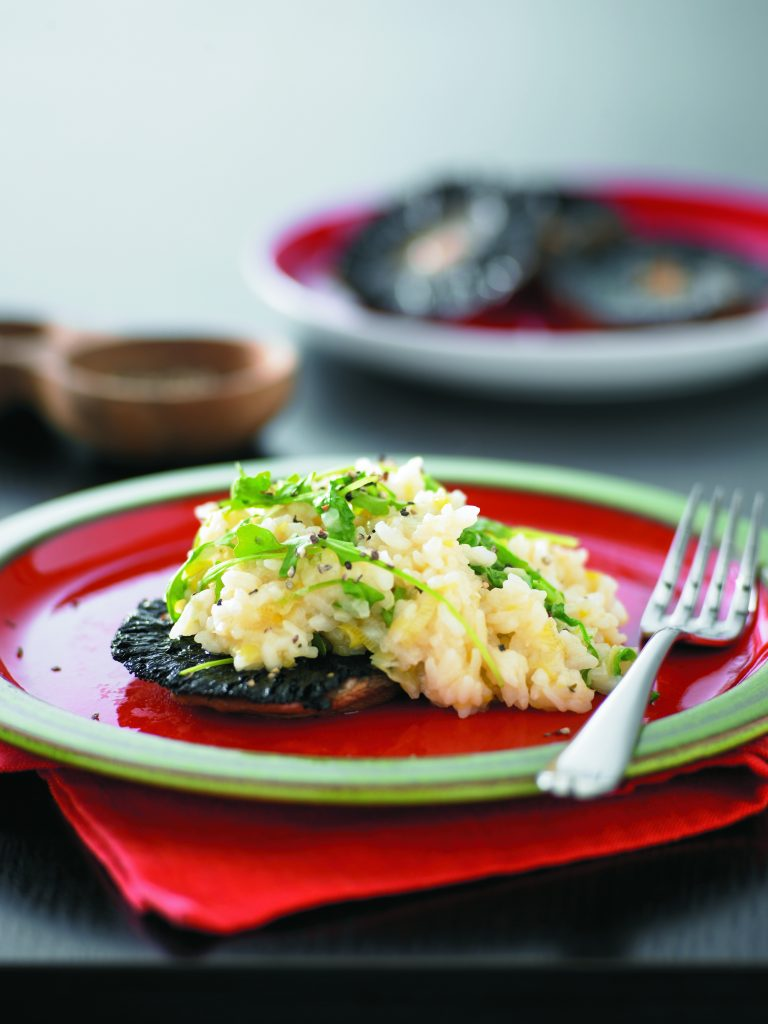 Oven-baked risotto on mushrooms