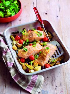 Oven-roasted salmon with oregano, lemon and tender veges ...