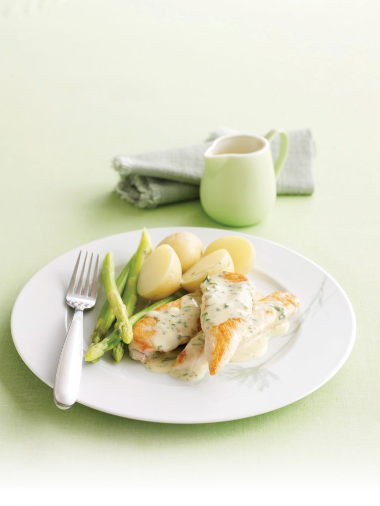 Pan-fried chicken with creamy, herby sauce