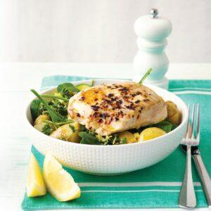 Pan-fried fish with lemon-dressed greens