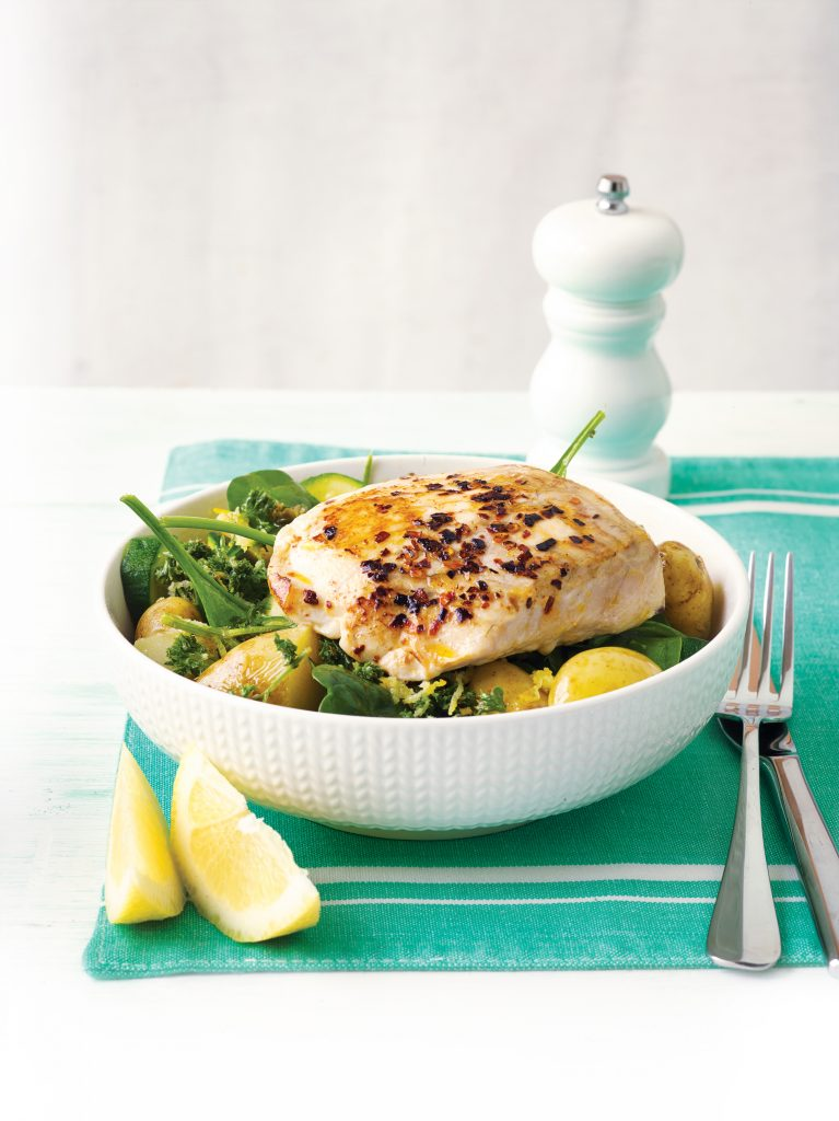 Pan-fried fish with lemon-dressed greens