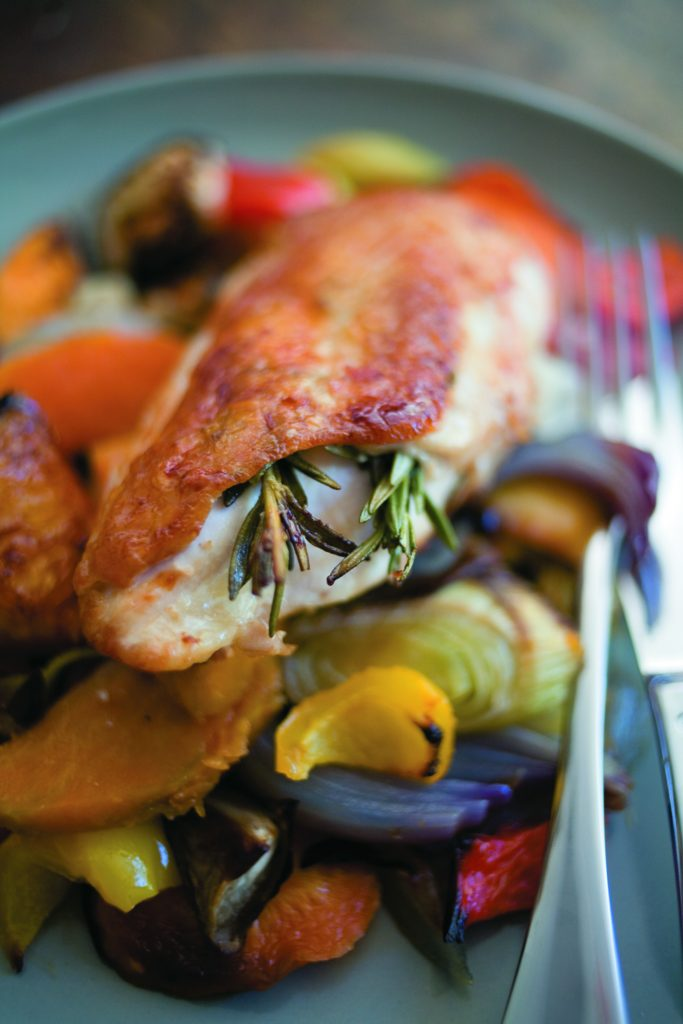 Pan-fried chicken with orange-roasted vegetables