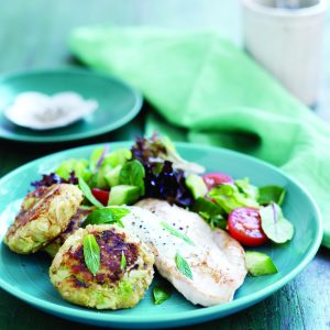Pan-fried chicken with parsnip bubble 'n' squeak