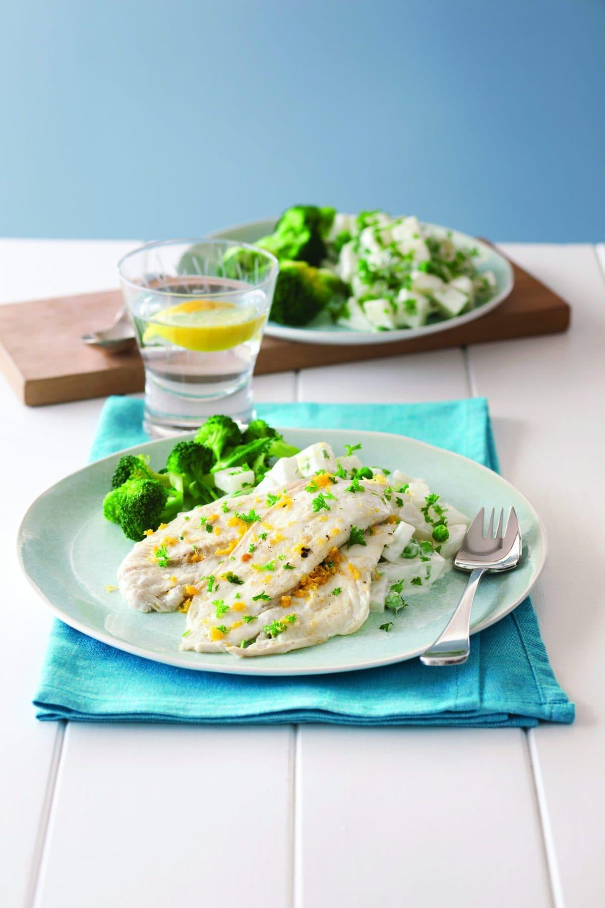 Pan-fried lemon gurnard with parsley potato salad